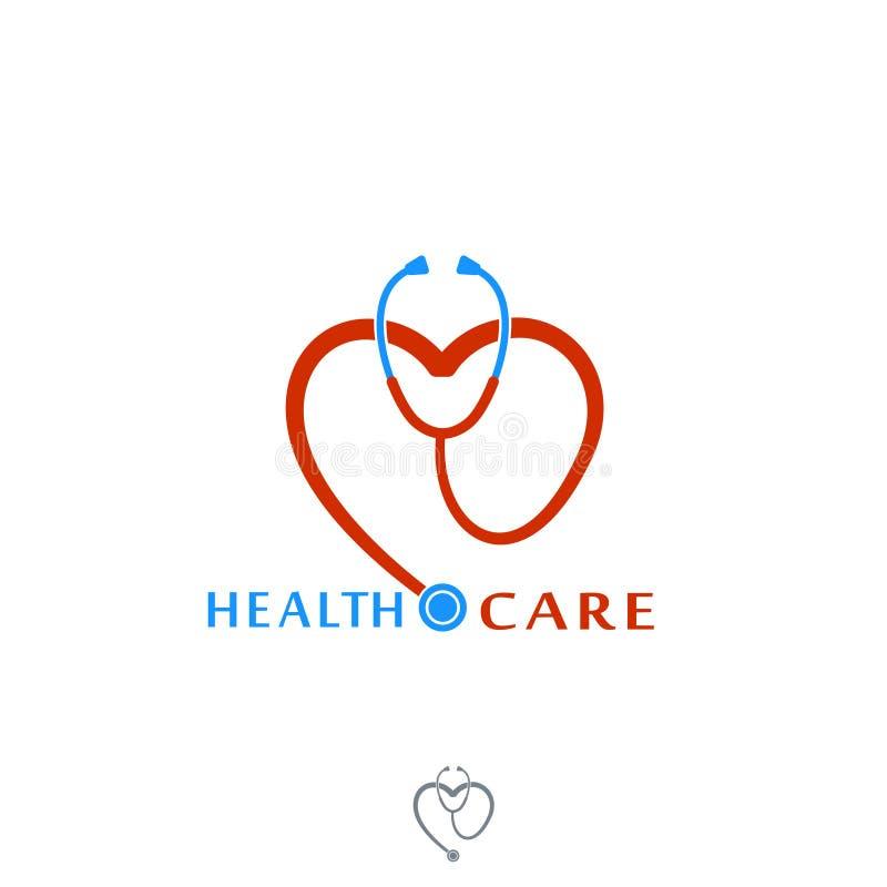 医疗保健传染媒介象商标 与心脏的Tonometer 标签或商标医院的 在空白背景查出的向量 向量例证