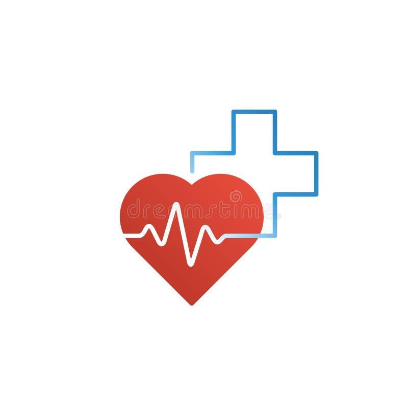 医疗保健和医疗商标和象概念、心脏和十字架,脉冲线 库存图片