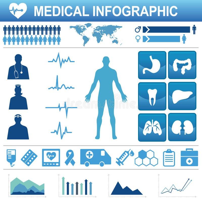 医疗保健象和数据元素 向量例证
