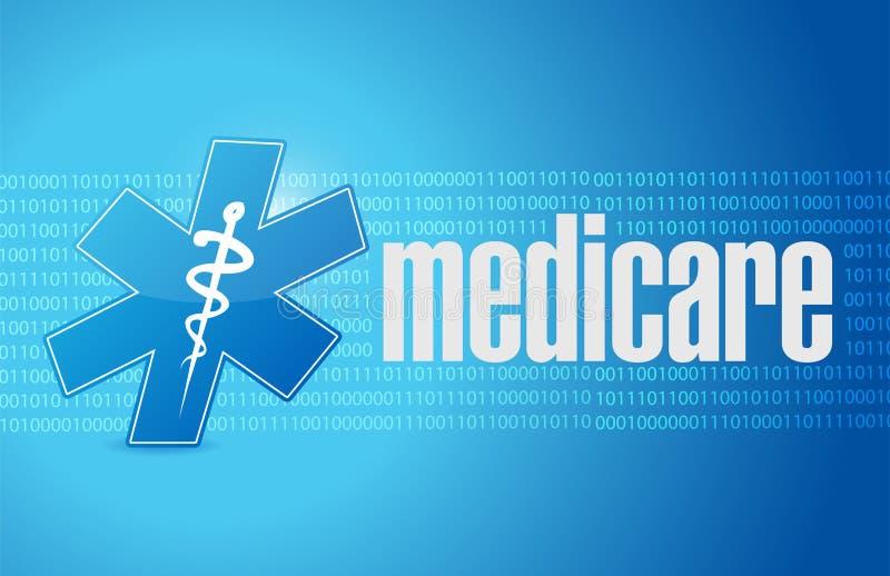 医疗保障二进制标志例证设计 向量例证