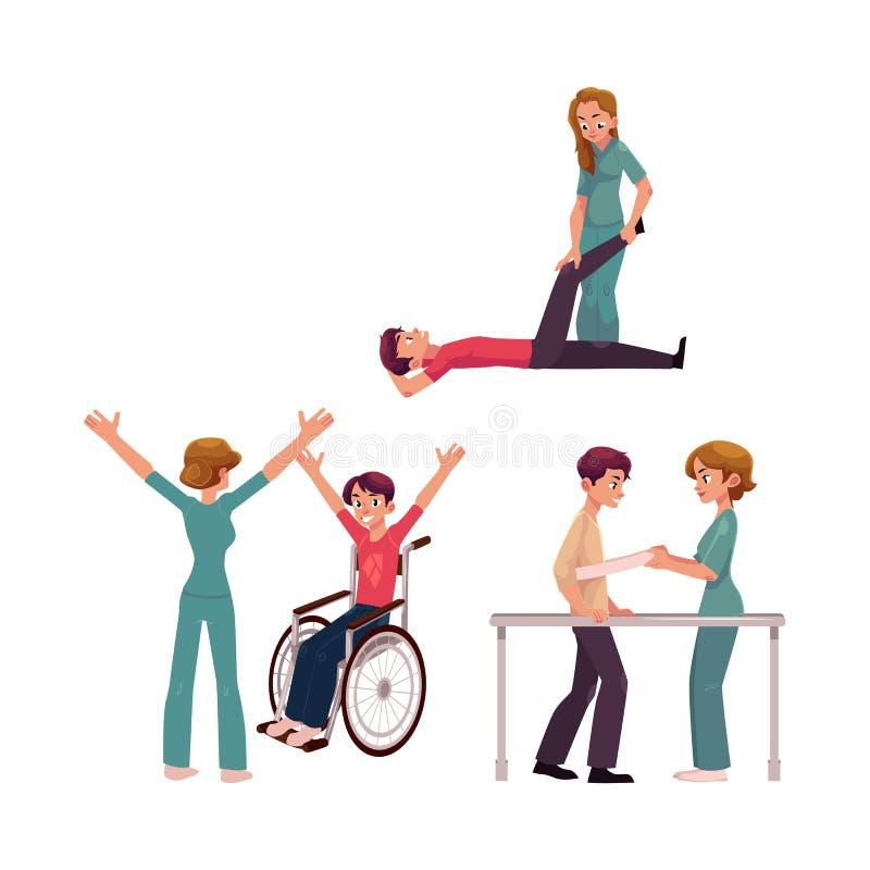 医疗修复,物理疗法活动,生理治疗师与患者一起使用 库存例证