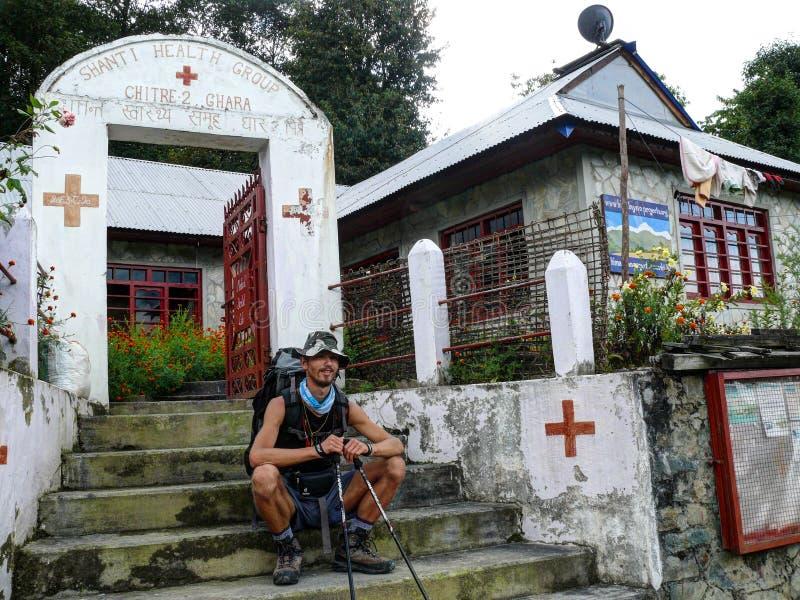 医疗健康中心在Chitre,尼泊尔 库存照片