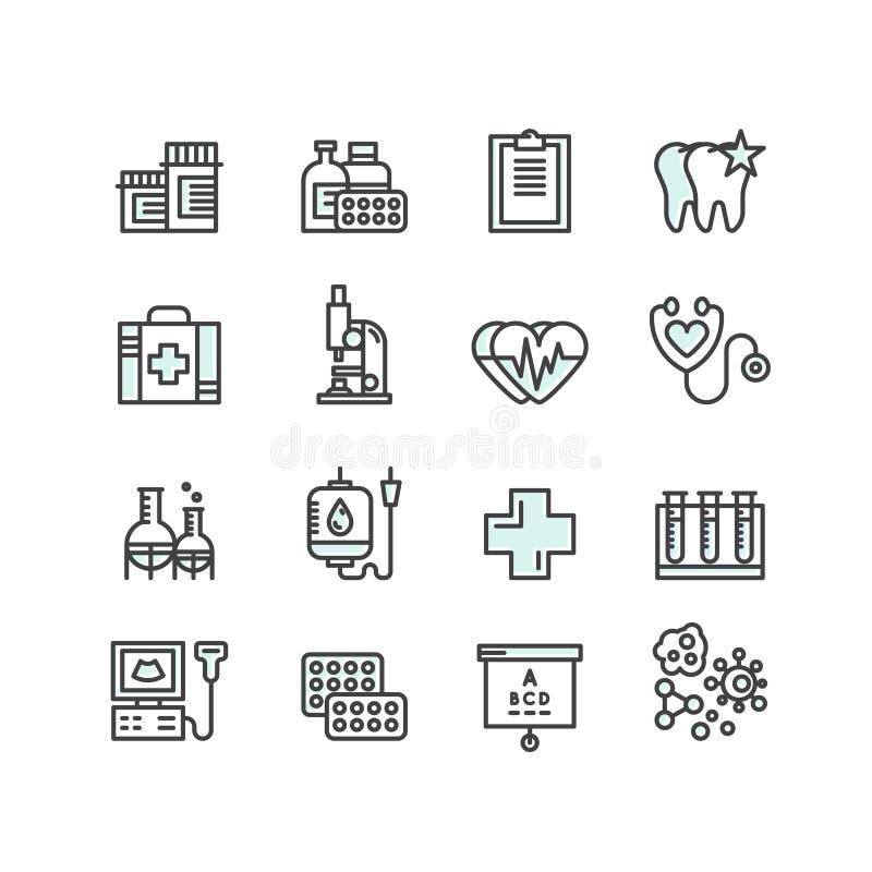 医疗和健康保健研究项目,保险, MRI,扫描,核对形式,血液测试 向量例证
