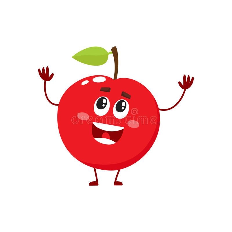 治疗和滑稽的红色苹果字符,吉祥人,装饰元素, 向量例证