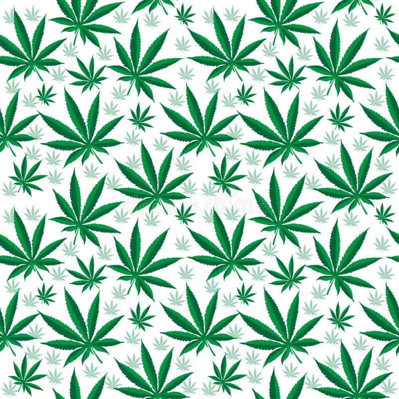 医疗大麻无缝的纹理 大麻背景 墙纸 也corel凹道例证向量 向量例证