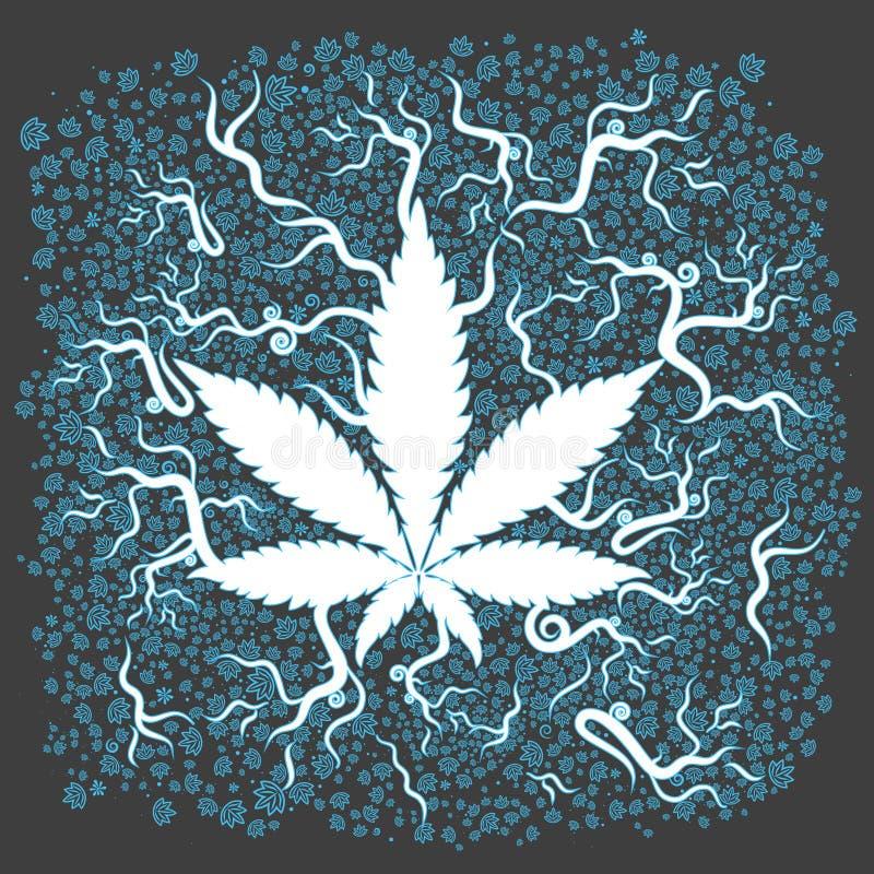 医疗大麻生长叶子背景 向量例证