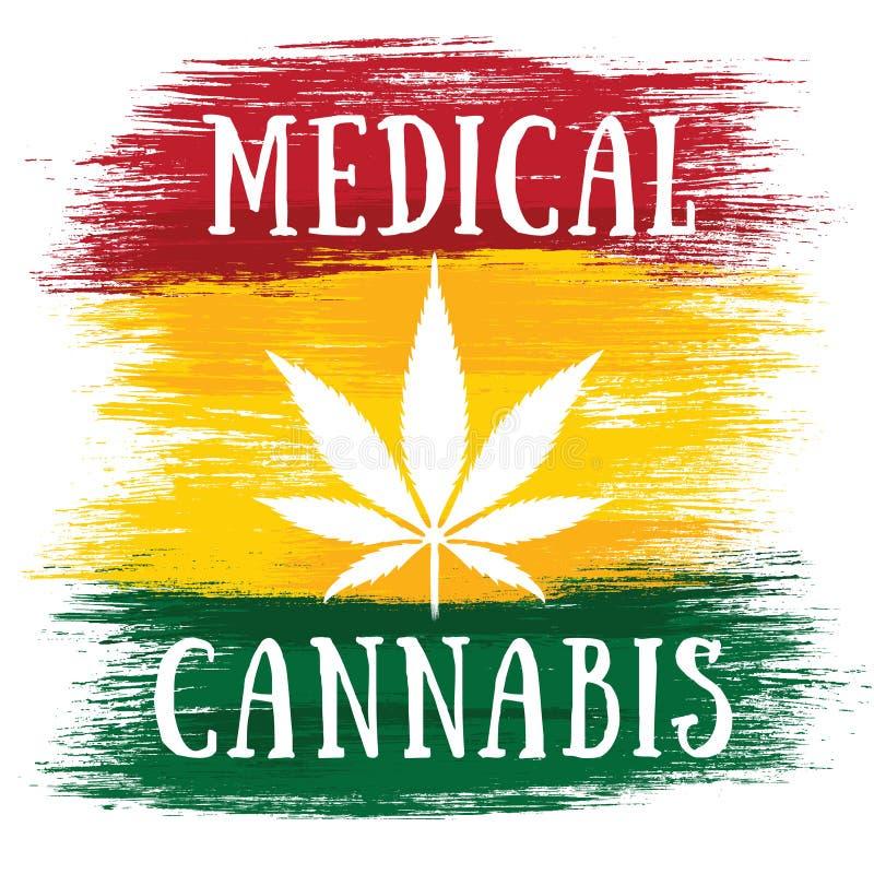 医疗大麻白色叶子牙买加旗子颜色 皇族释放例证
