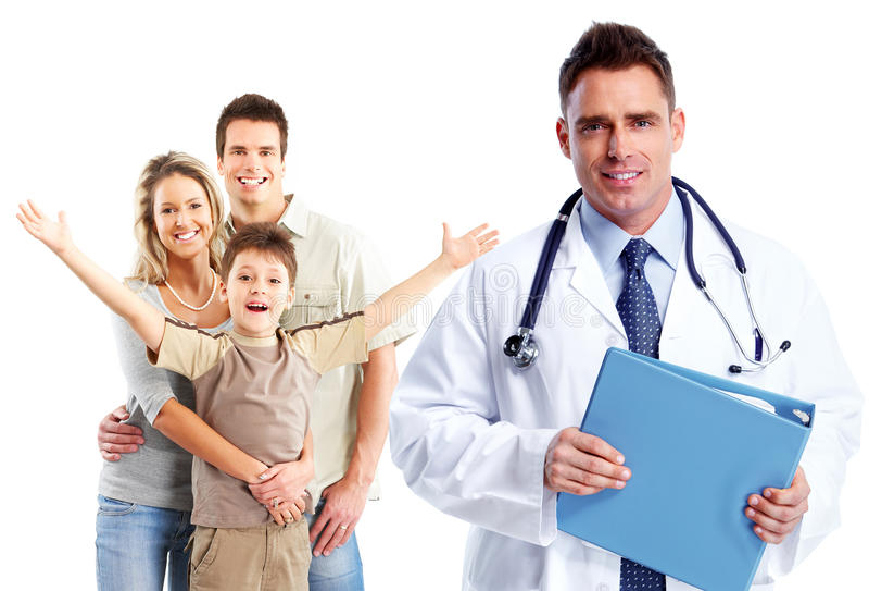 医疗家庭医生和患者 免版税库存图片