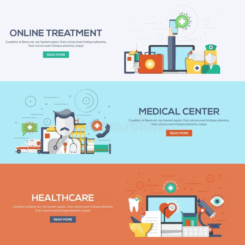 医疗平的被设计的横幅-和医疗保健 皇族释放例证