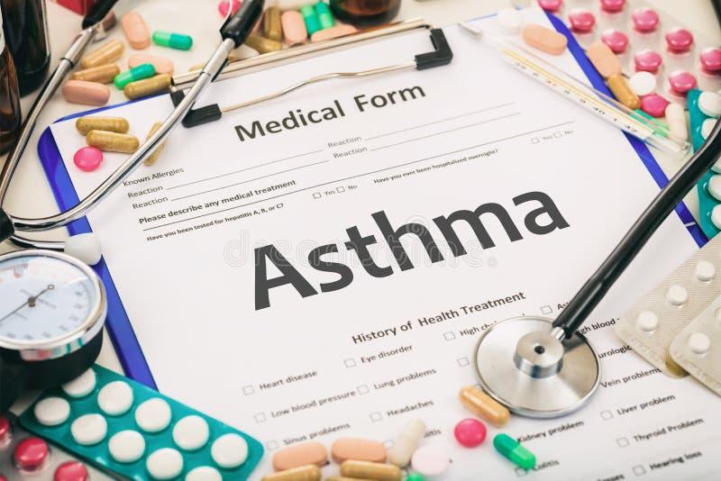 医疗形式,诊断哮喘 免版税库存图片