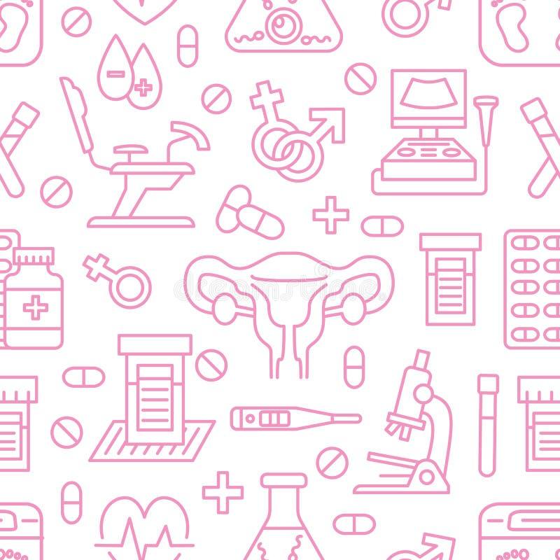 医疗无缝的样式,妇科学传染媒介背景桃红色颜色 产科学,怀孕线象-婴孩超声波 库存例证