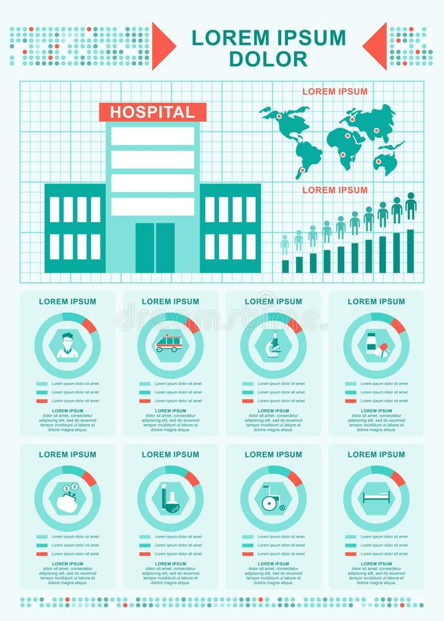 医疗概念医院infographics 皇族释放例证
