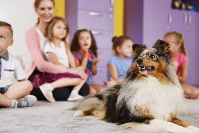 疗法狗和小组在幼儿园的孩子 库存图片