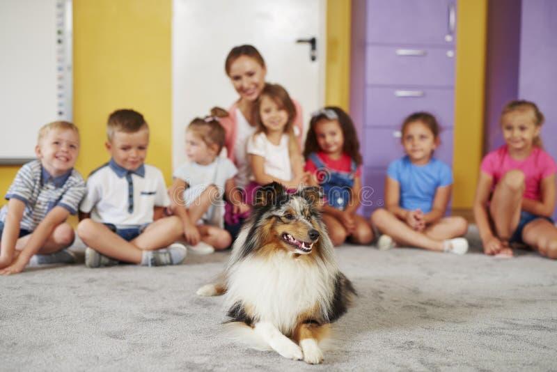 疗法狗和小组孩子 免版税库存照片