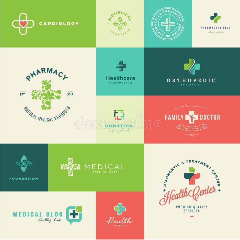 医疗的套平的设计和医疗保健象 皇族释放例证
