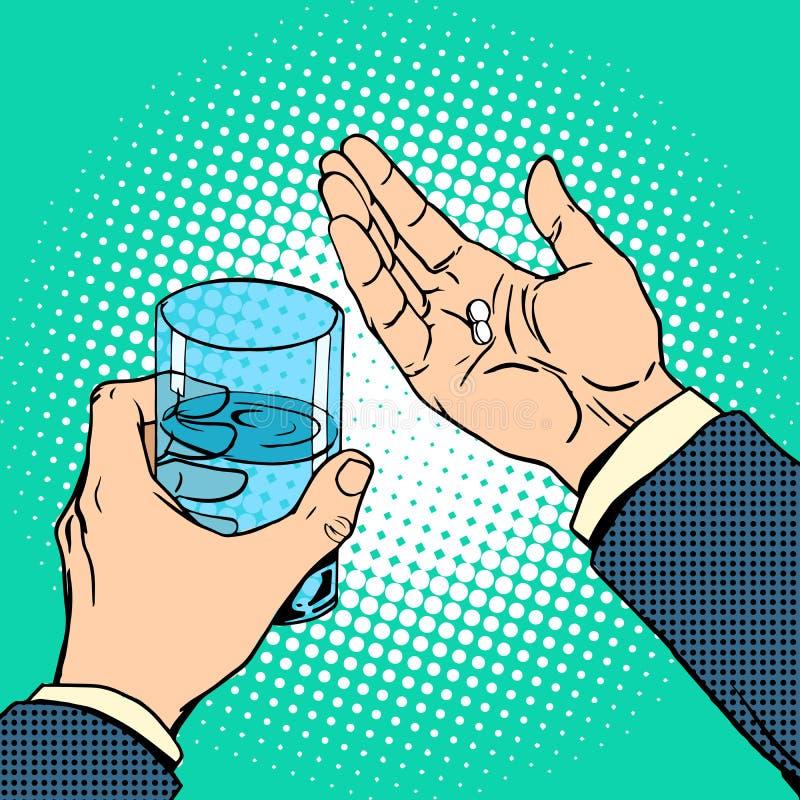 疗程健康药片在手中 库存例证