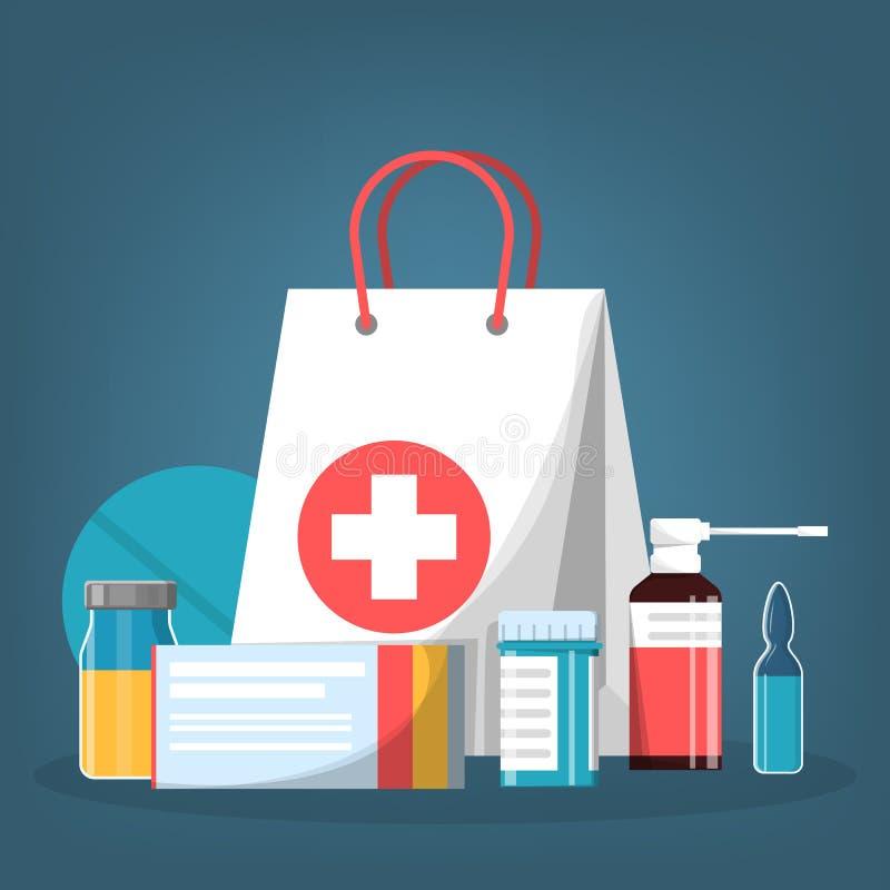 疗程集合 药房药物的汇集在瓶的 库存例证