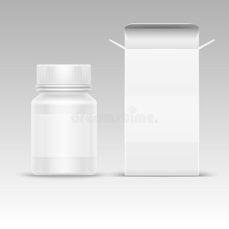 医疗空白包装的纸箱和医学塑料瓶在白色传染媒介例证隔绝的药片的 皇族释放例证