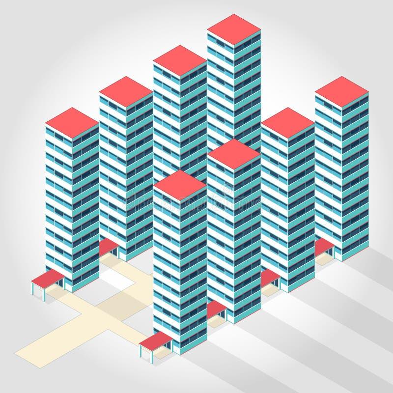 医疗等量大厦-高层住宅 皇族释放例证