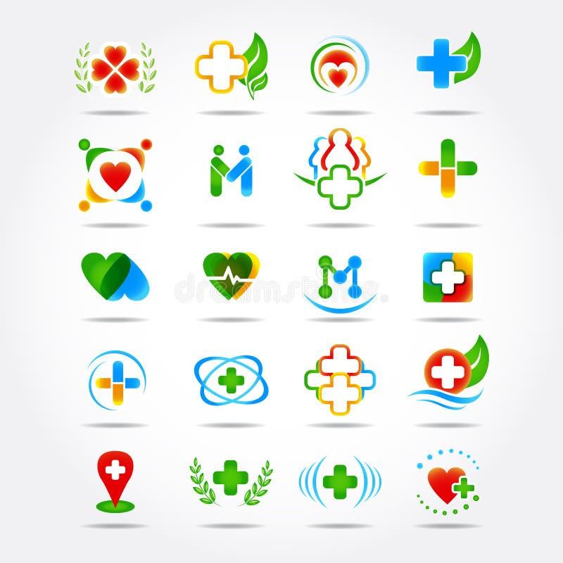 20医疗药房和医疗保健商标设计,被设置的象 查出的例证 向量例证