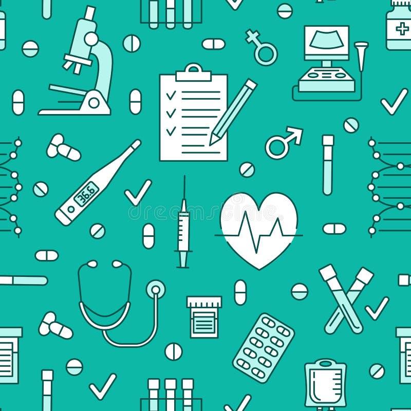 医疗蓝色无缝的样式,诊所传染媒介背景 医院稀薄的线象-温度计,检查,诊断 库存例证