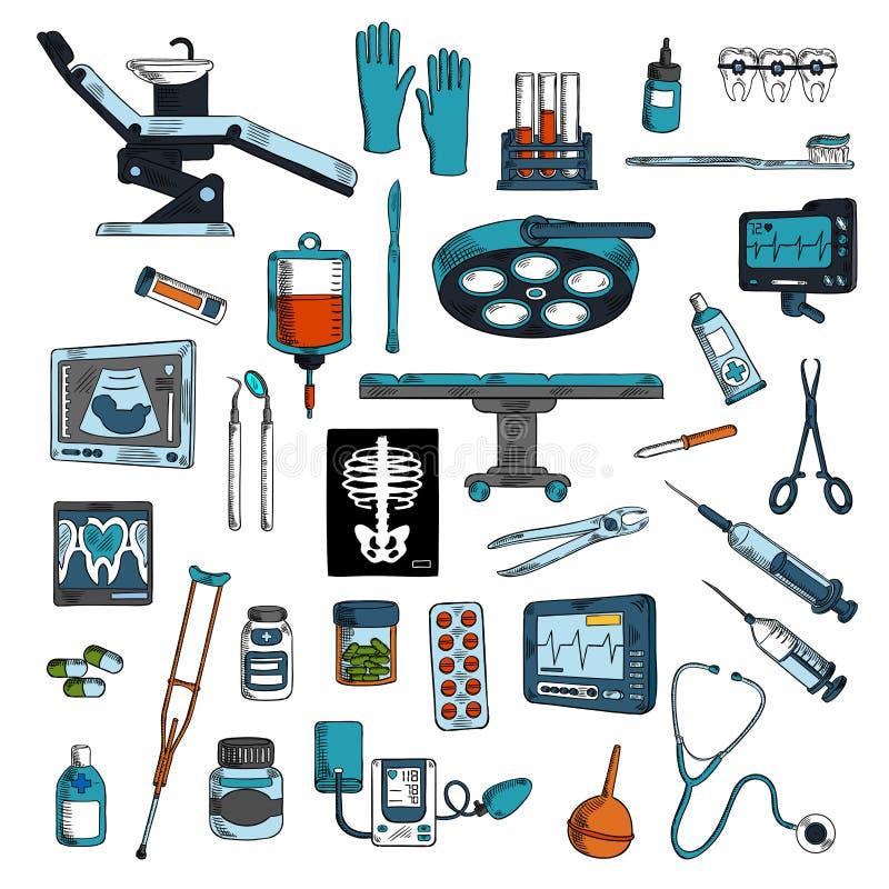 医疗仪器和设备剪影象 库存例证