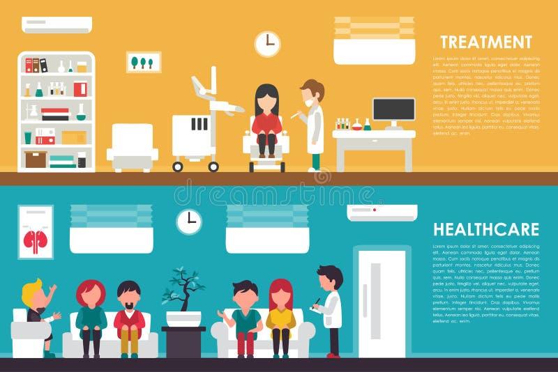 Download 治疗医疗保健平的医院内部概念网传染媒介例证 护士,队列,诊所医生, 医学 向量例证 - 插画 包括有 生活, 背包: 72350550