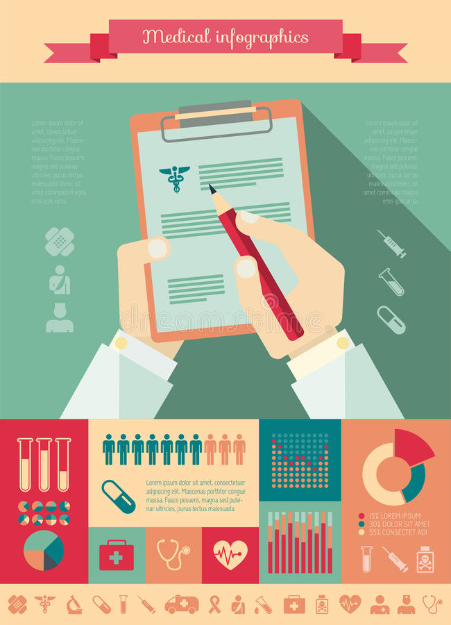 医疗Infographic模板。 库存例证