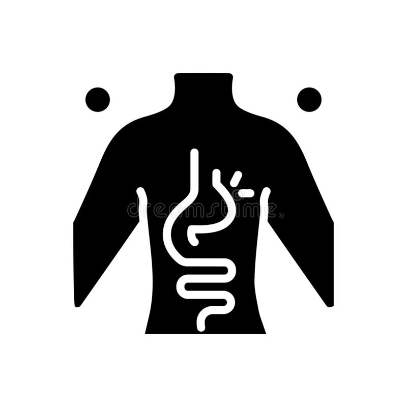 疝气,腹股沟和胃的黑坚实象 皇族释放例证