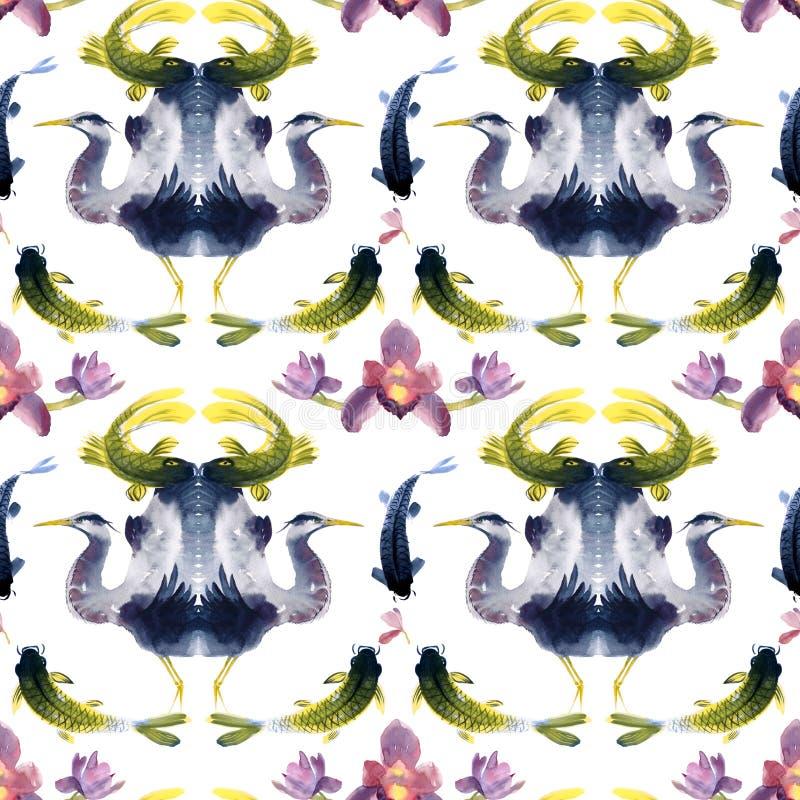 疯狂的亚洲样式、水彩印刷品在日本式与苍鹭,鱼和兰花 库存例证