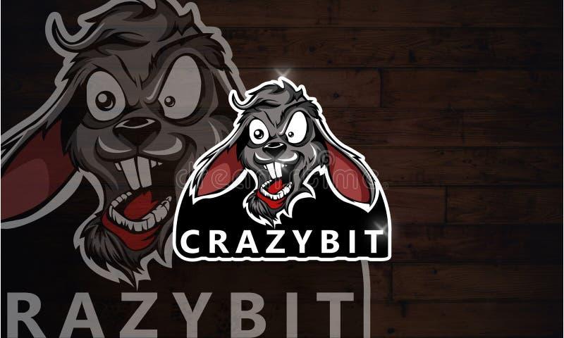 疯狂的兔子商标Esport比赛 免版税库存图片