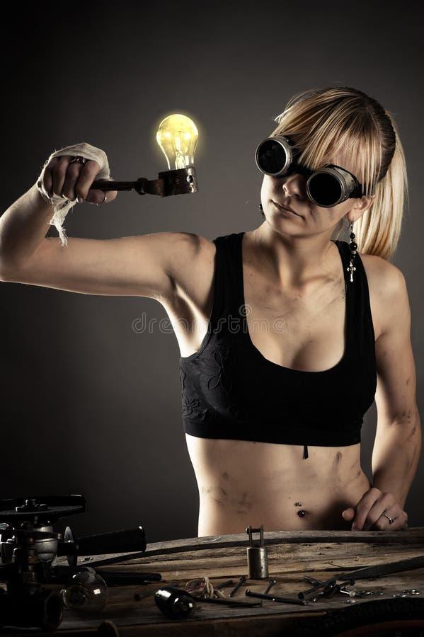疯狂的创造性的妇女 图库摄影