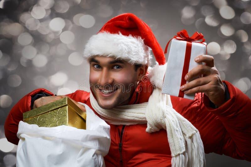 疯狂的圣诞老人 库存图片