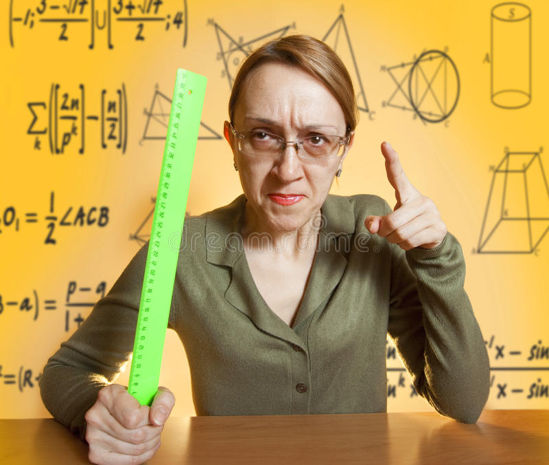 疯狂的女性教师 库存图片