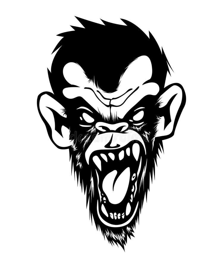 疯狂的恼怒的坏黑猩猩猿猴子Gorila黑色墨水白色 皇族释放例证