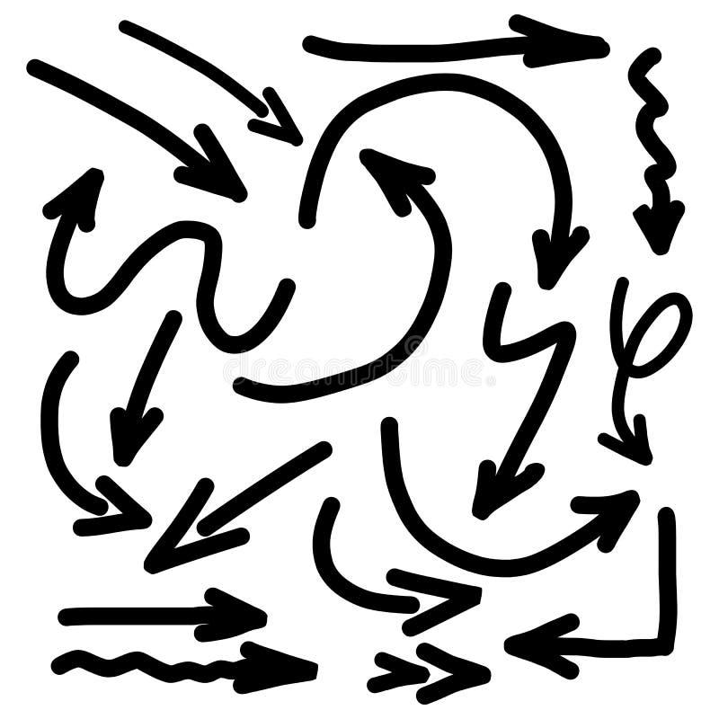 疯狂的手拉的在样式的箭头集合显示的方向 向量例证