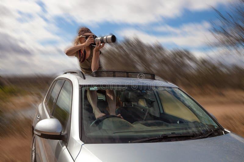 疯狂的摄影师射击如驾驶 免版税库存图片