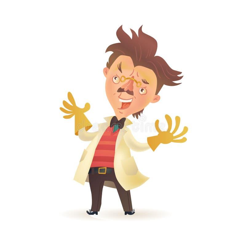 疯狂的教授佩带的实验室外套,举在橡胶手套的手 向量例证