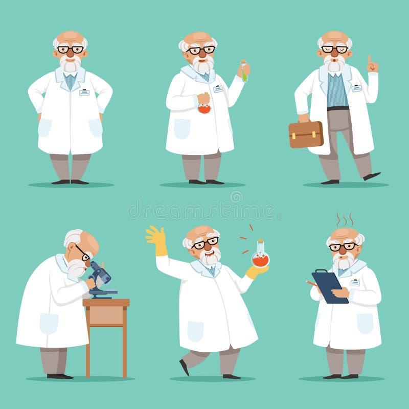疯狂的教授老科学家或化学家吉祥人设计字符  男性教师 被设置的传染媒介图片 向量例证