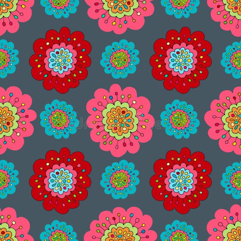 疯狂的无缝的手拉的传染媒介样式 明亮的夏天颜色,现代鸦片花 Boho印刷品的,蜡染布,丝绸t时尚样式 向量例证