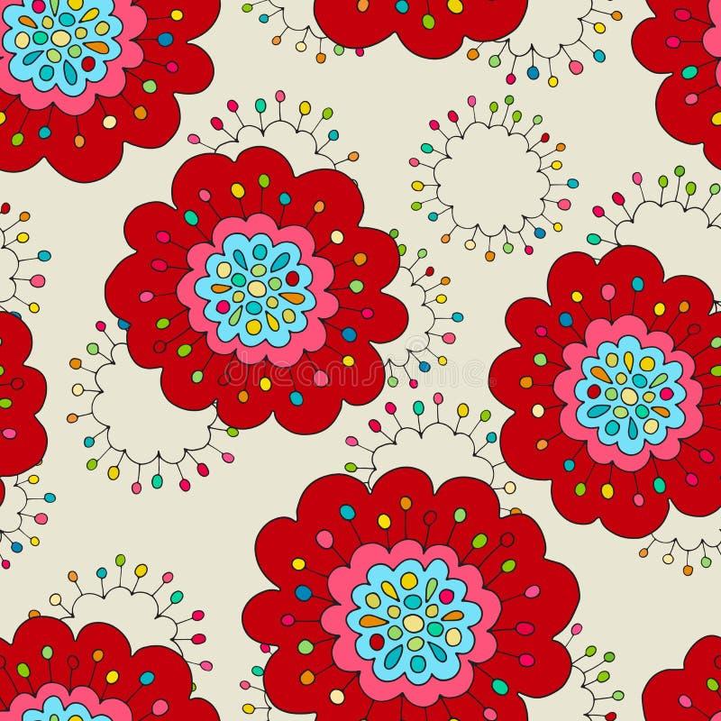 疯狂的无缝的手拉的传染媒介样式 明亮的夏天颜色,现代鸦片花 Boho印刷品的,蜡染布,丝绸t时尚样式 皇族释放例证