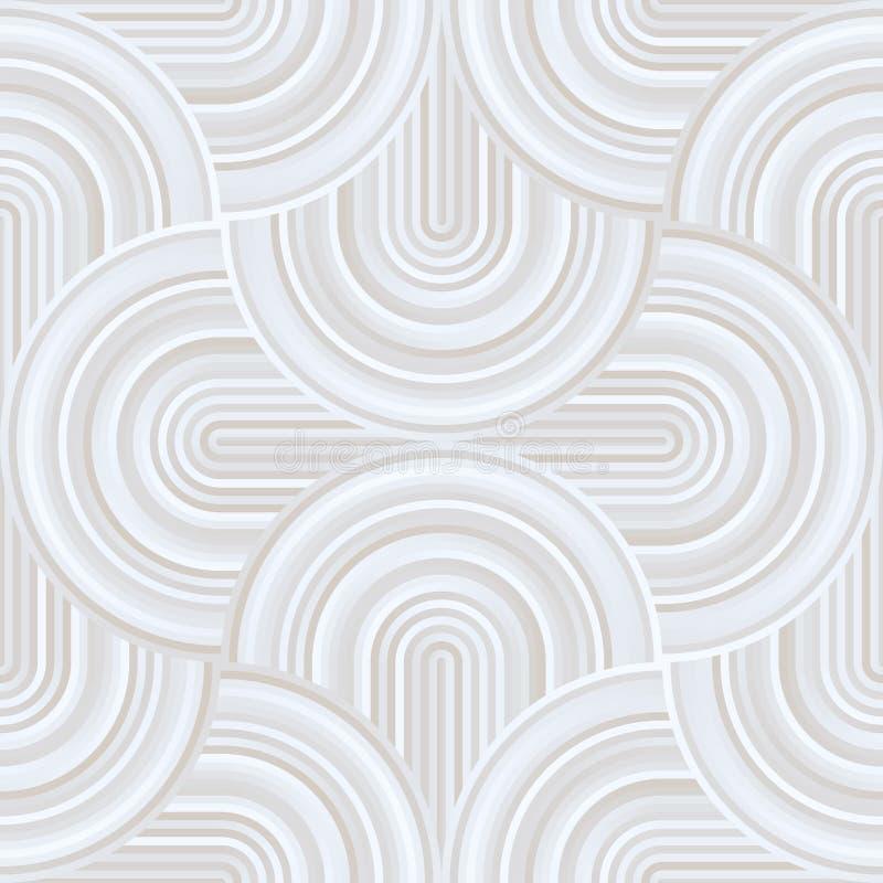 疯狂的曲线-与苍白淡色白色的被缠结的几何样式 向量例证