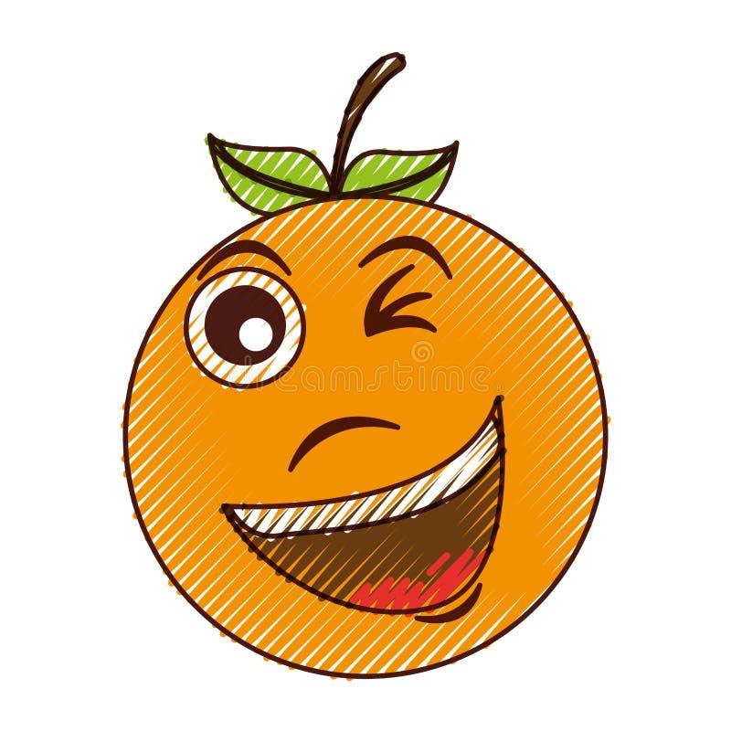 疯狂的橙色字符kawaii样式 皇族释放例证