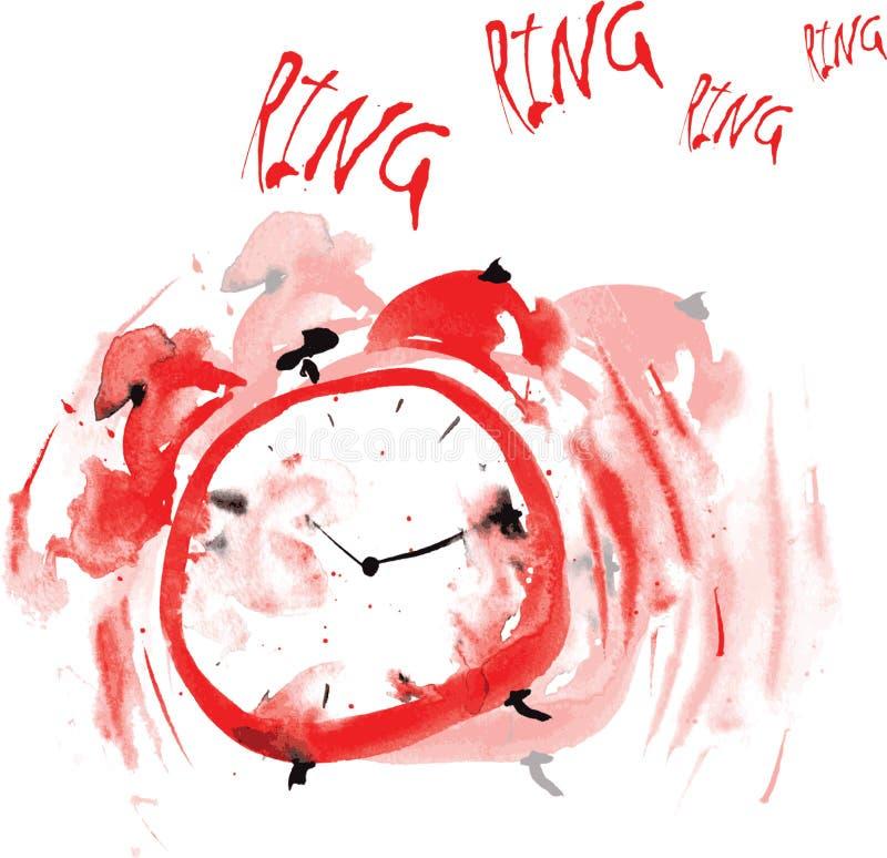 疯狂的红色闹钟,绘在水彩 库存例证