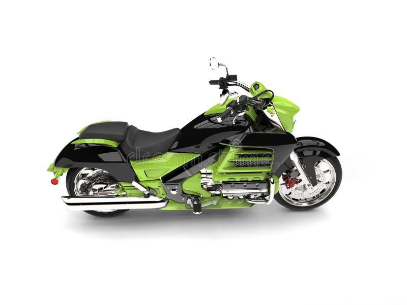 疯狂的绿色现代强有力的砍刀自行车-冠上在侧视图下 向量例证