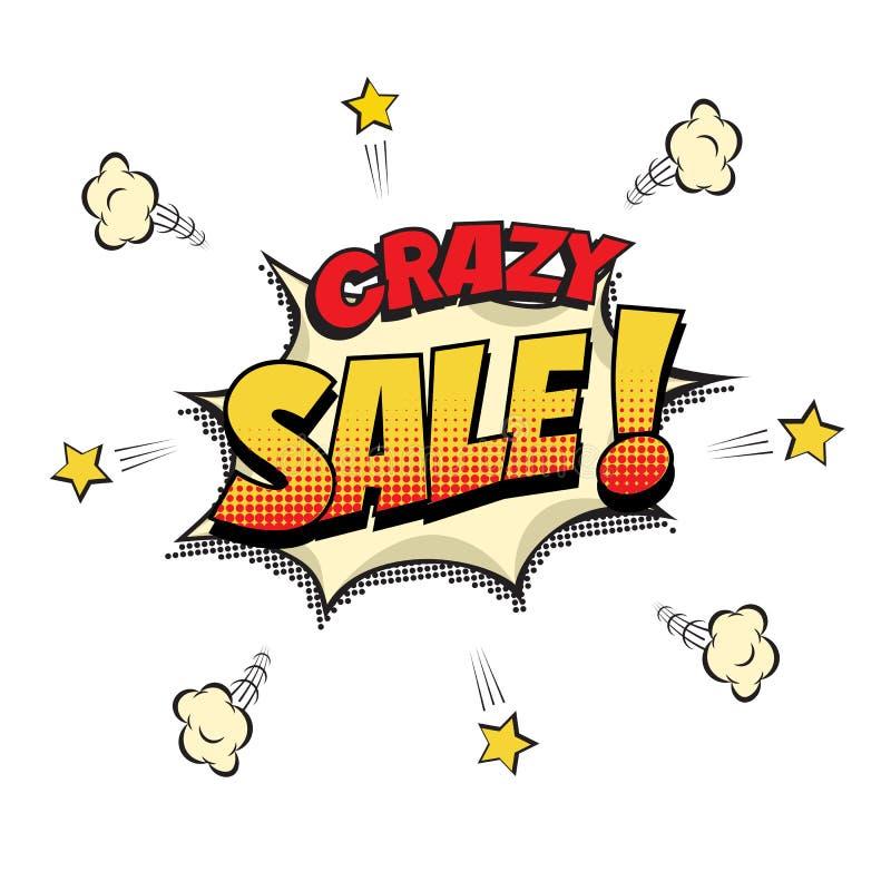 疯狂的销售讲话泡影 在流行艺术或漫画书背景的疯狂的销售词 也corel凹道例证向量 向量例证