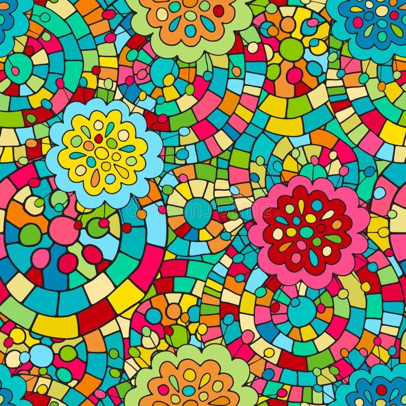 疯狂的颜色无缝的抽象手拉的传染媒介样式 夏天颜色、现代波浪和马赛克圈子纹理 Boho时尚styl 皇族释放例证