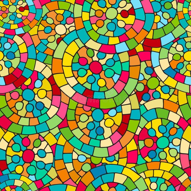 疯狂的颜色无缝的抽象手拉的传染媒介样式 夏天颜色、现代波浪和马赛克圈子纹理 Boho时尚styl 向量例证