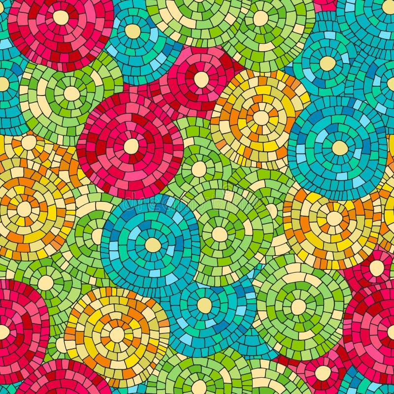 疯狂的颜色无缝的抽象手拉的传染媒介样式 夏天颜色、现代波浪和马赛克圈子纹理 Boho时尚styl 库存例证