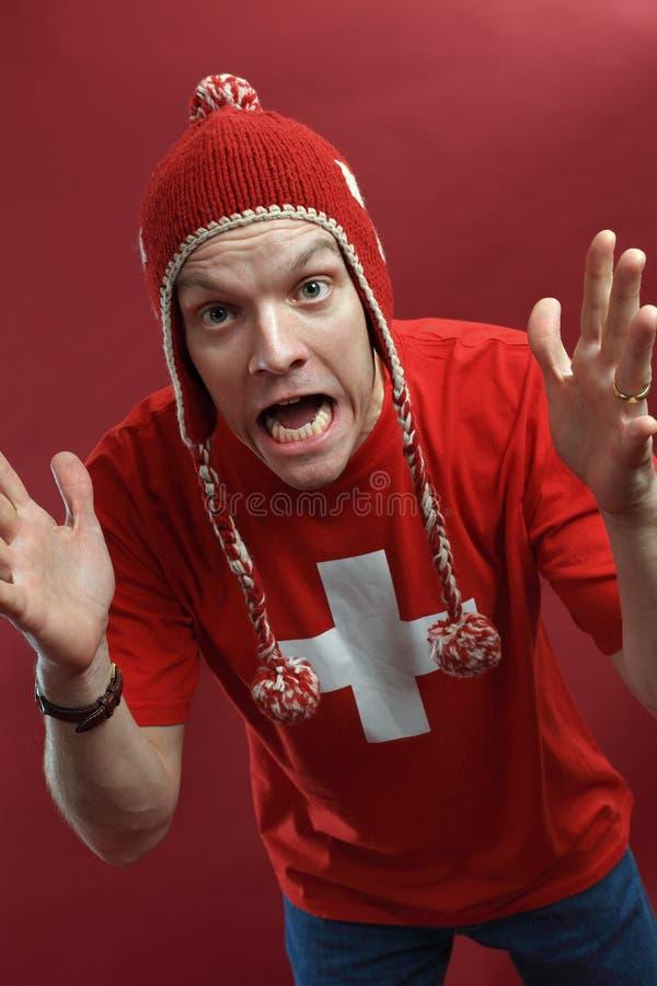 疯狂的风扇炫耀瑞士 免版税图库摄影